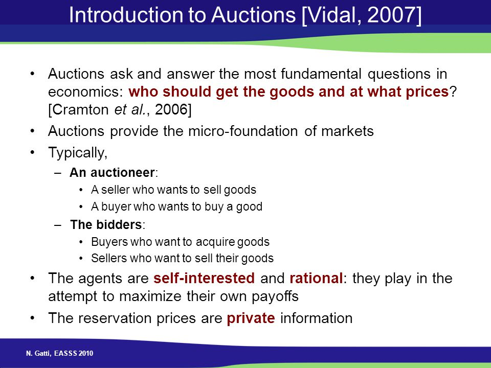 Introduction to Auctions [Vidal, 2007]